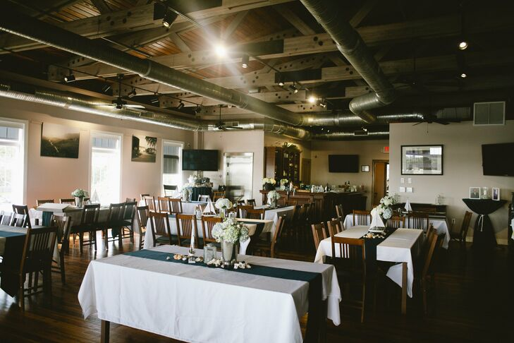 Navy and White Reception Decor