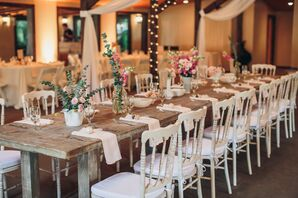 Wood Farm Tables and Vintage Chairs