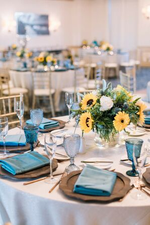 Blue-and-Yellow Reception Decor with Sunflowers