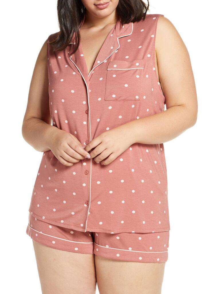 Polka dot pink bridesmaid pajamas