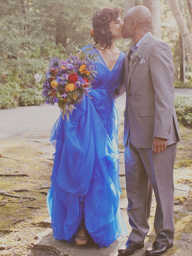 Bright blue wedding gown by Leanne Marshall