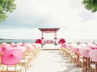 ceremony venue with umbrellas