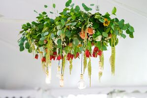 Garland and Bulb Hanging Arrangement