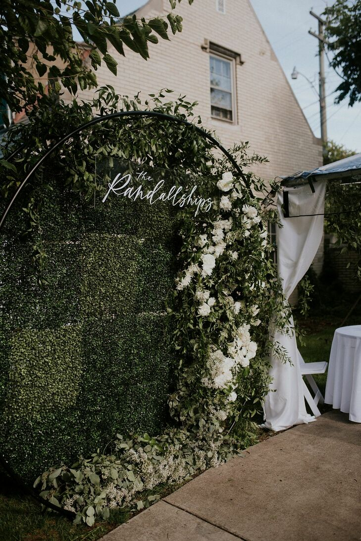 Greenery Wall Photo Booth with Personalized Sign