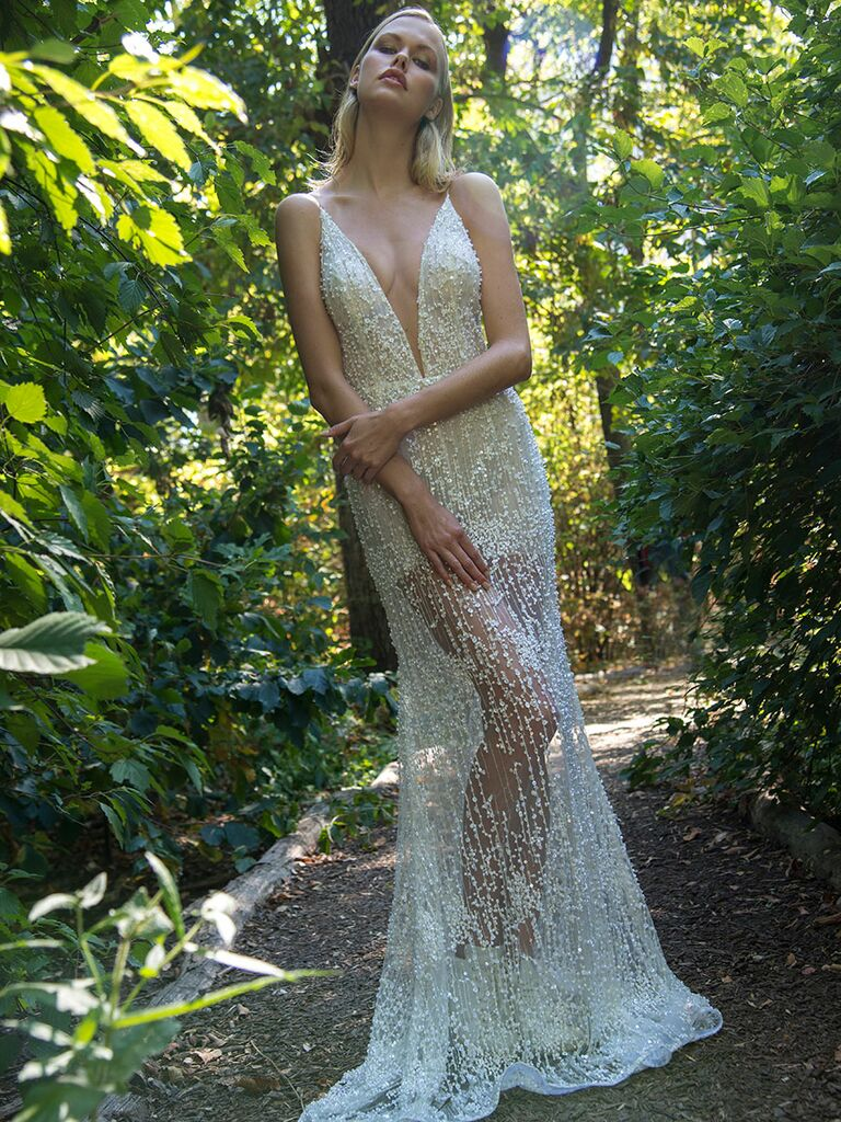 Persy Fall/Winter 2018 beaded wedding dress with sheer skirt
