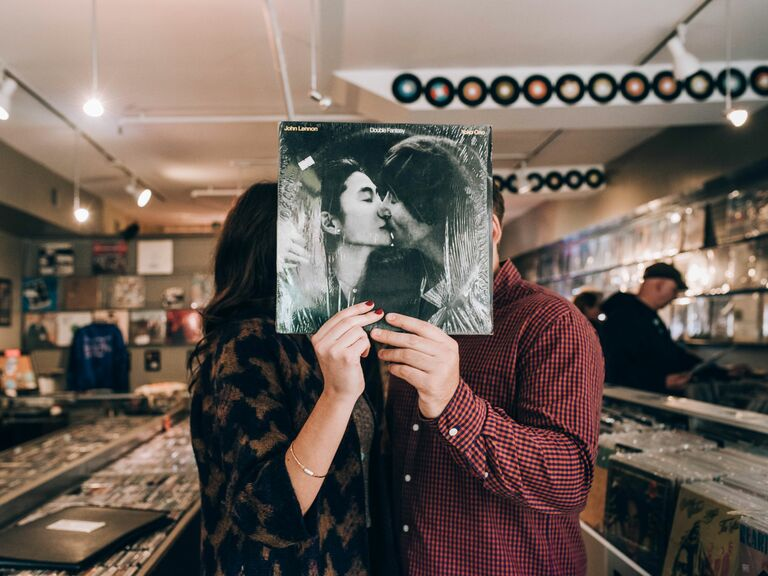 A Quirky Engagement Photo Shoot in a Record Store