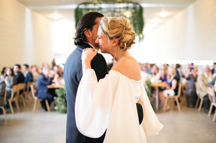 Elegant Bell-Sleeve Wedding Dress and Updo