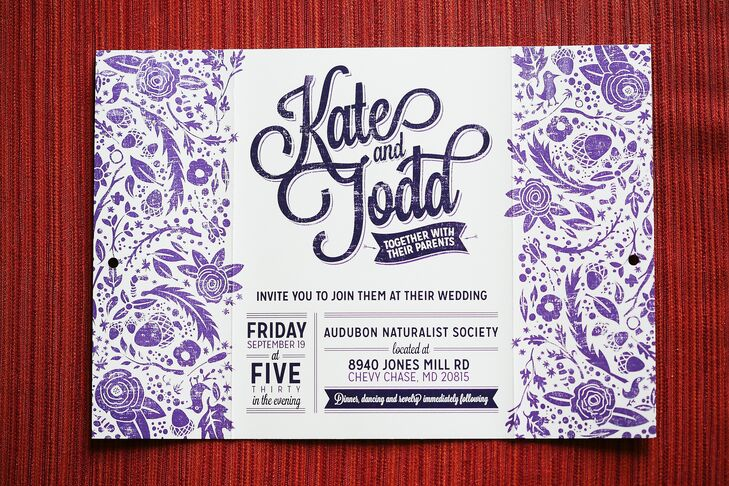 All the paper goods at the wedding were designed and created by the groom himself. The invitations matched the wedding's color scheme in eggplant and white.