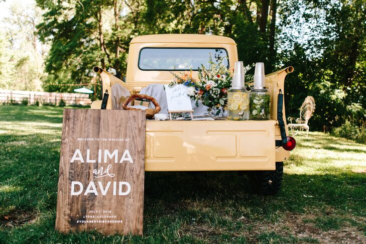 Rustic Decorations, Wood Sign and Non-Alcoholic Drinks in Vintage Truck