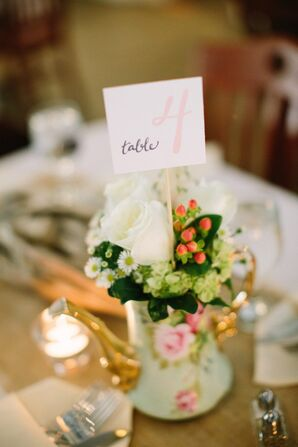 White Rose Centerpieces With White Card Table Number