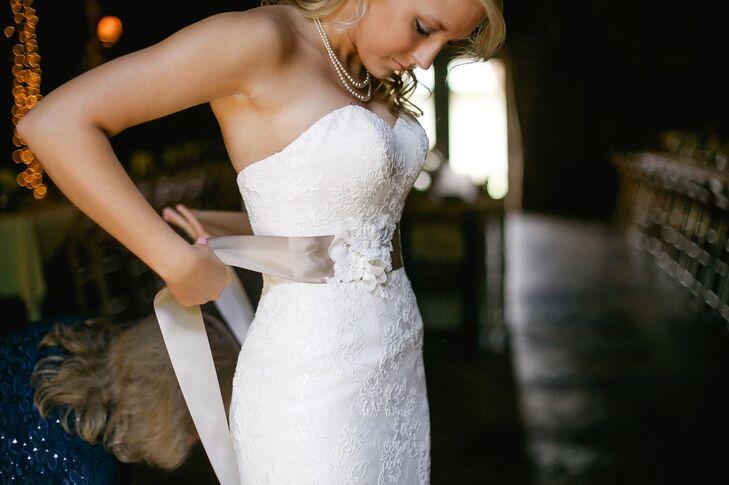 Lace Wedding Dress Taupe Sash