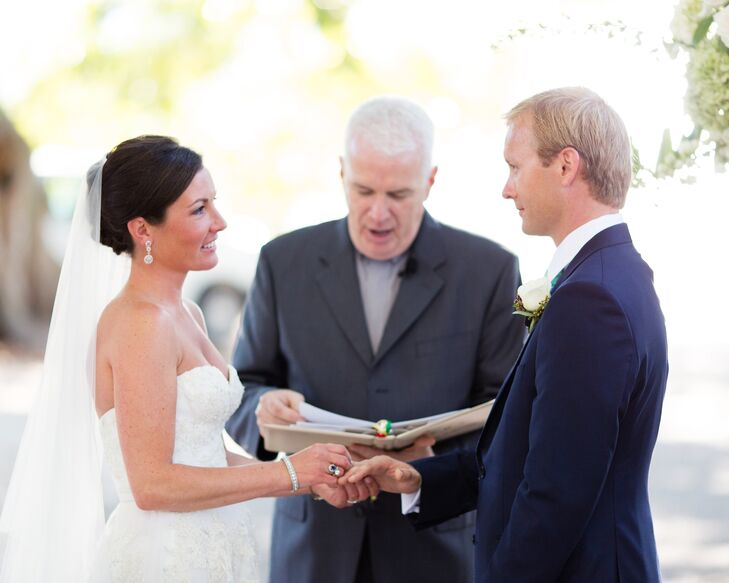 The couple exchanged vows outdoors on Banyan Street in Boca Grande, Florida.