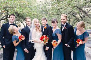 Ruffled Evening Blue Bridesmaid Dresses