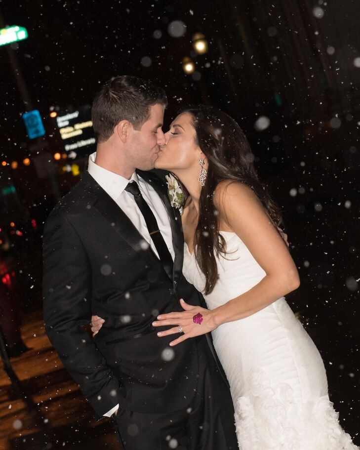 Snowy Wedding Exit in Philadelphia