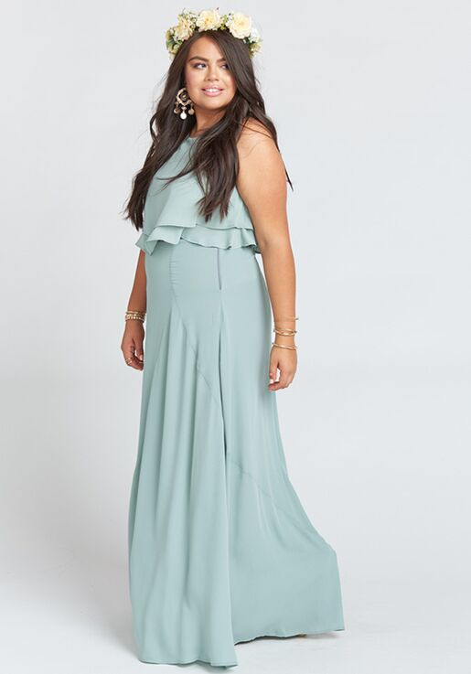 b1211ca6da Show Me Your Mumu Princess Di Ballgown - Silver Sage Crisp Square  Bridesmaid Dress