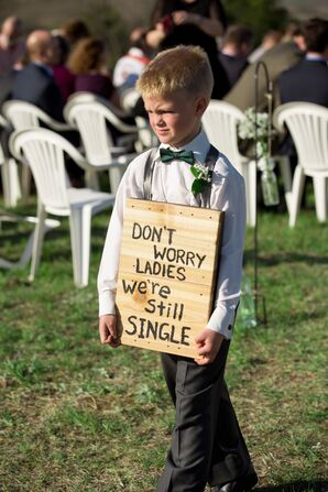 Ring Bearers with Funny Exit Sign