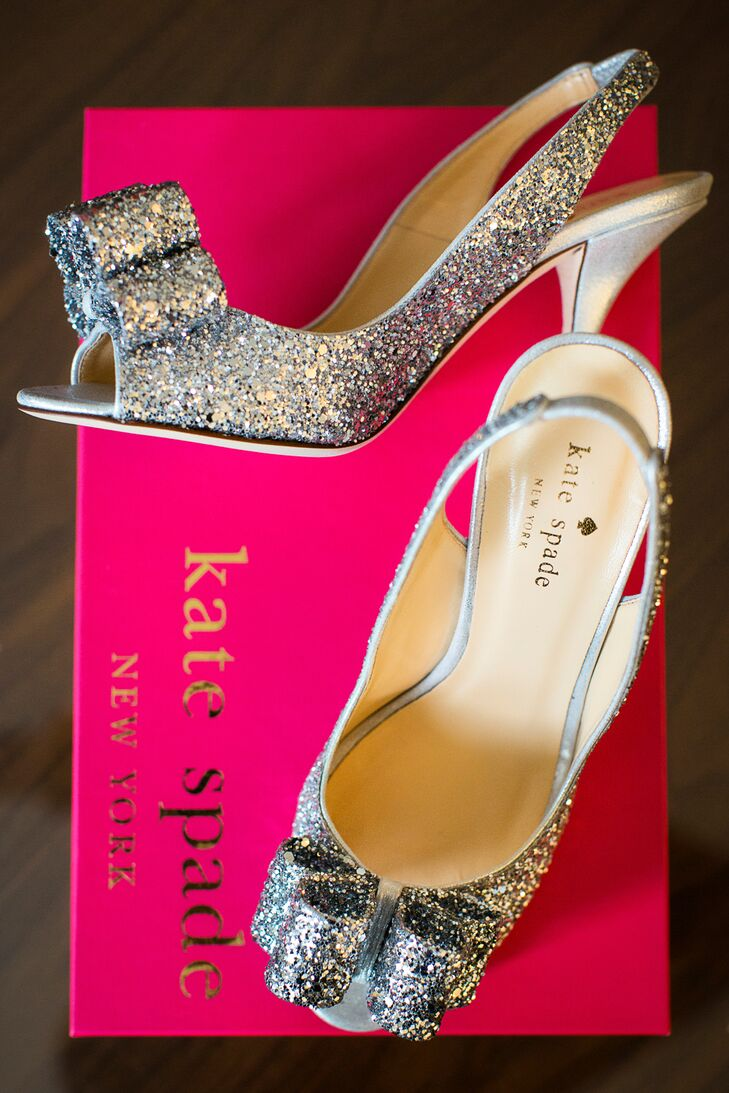 Sparkly silver Kate Spade heels added a touch of glam to Joni's bridal style.