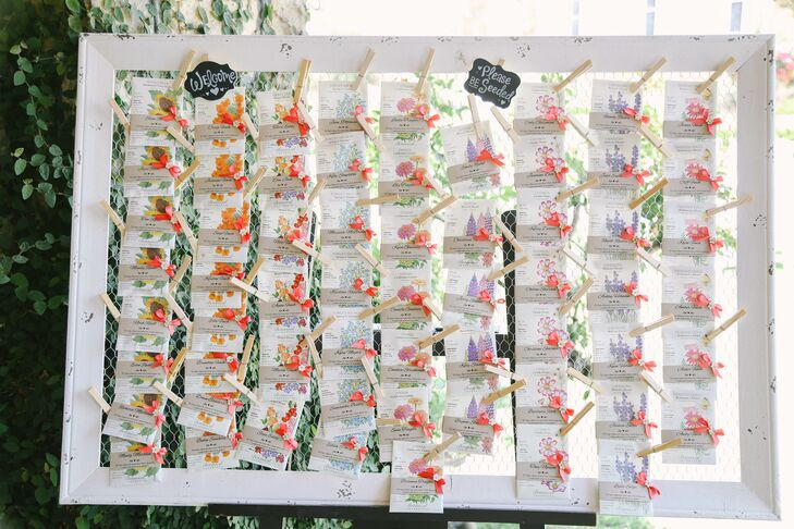 """I decided to incorporate our love for gardening into the wedding with cheerful seed packet place cards,"" Misty says. Each card had a specific flower design, which matched up with a marker on dining tables."