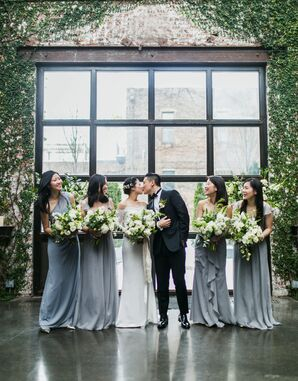Gray Bridesmaid Dresses for Winter Wedding at The Foundry
