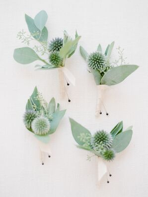 Natural Thistle and Eucalyptus Boutonnieres Wrapped with Ivory Ribbon