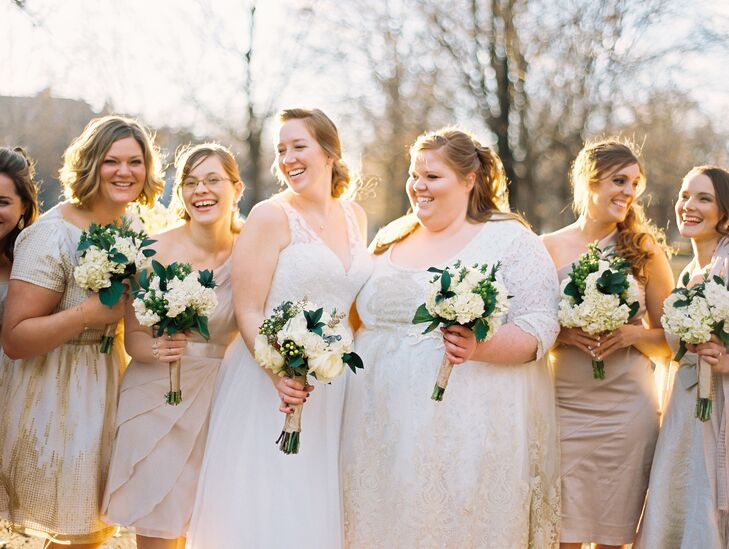 Eclectic Gold And Ivory Bridesmaid Dresses