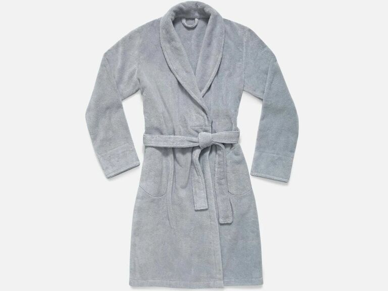 Plush bathrobe in light gray third anniversary gift idea