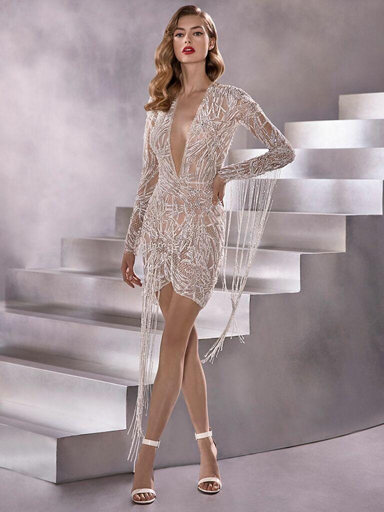 Atelier Provonias wedding dress long-sleeve short beaded dress