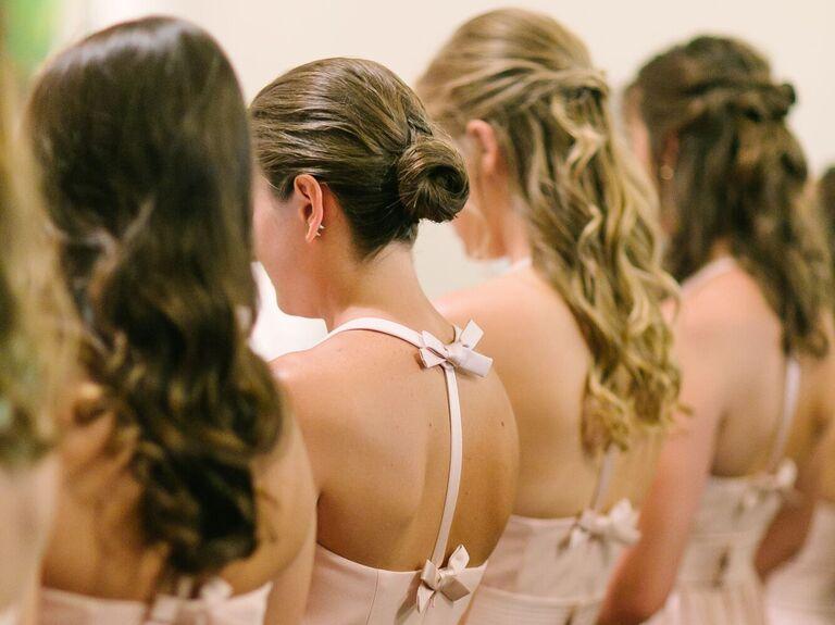 Bridesmaid updo high ballerina bun