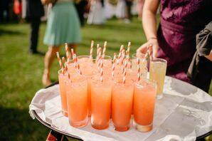 Peach-Colored Signature Cocktails at Wedding in Stowe, Vermont