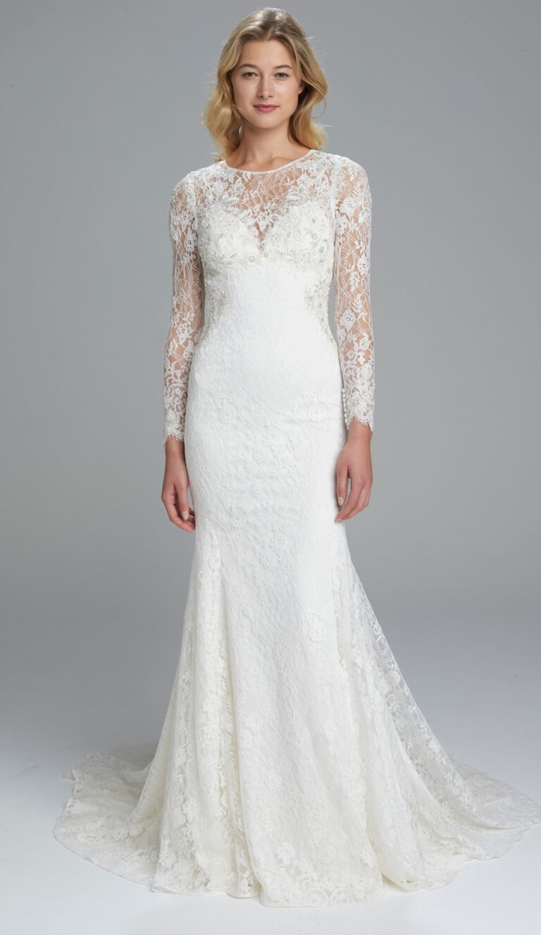 Kenneth Pool Spring 2017 Chantilly lace, long-sleeve, fit-to-flare gown with hand-beaded appliqué and open back