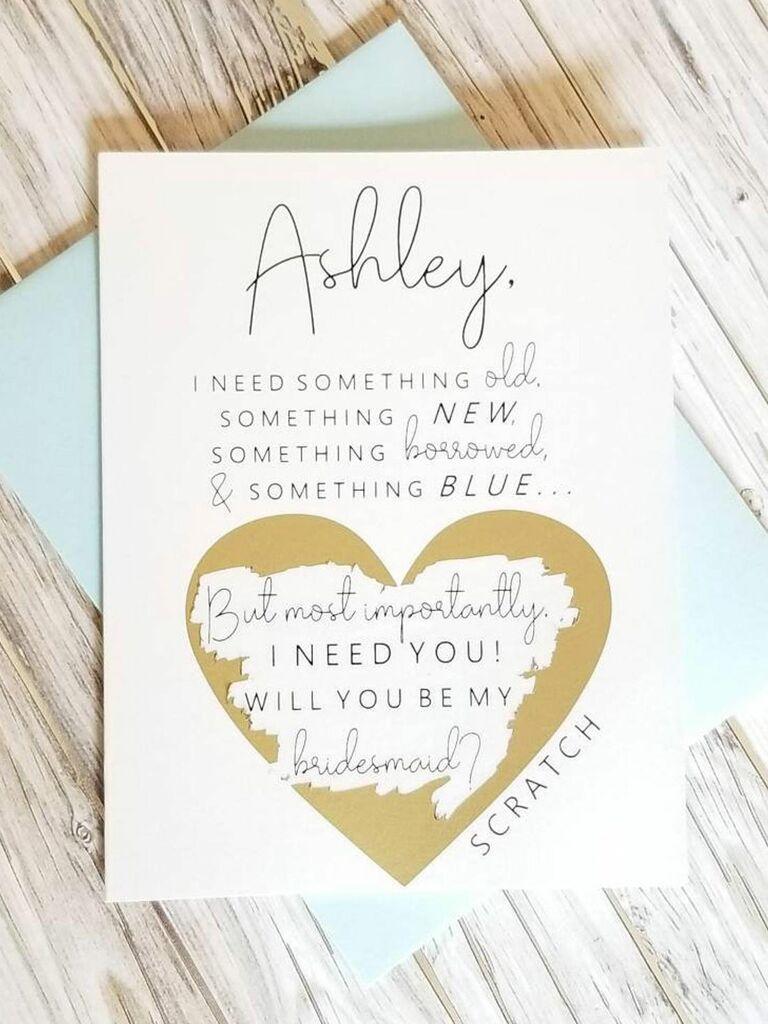 Personalised Will You Be My Bridesmaid Card Wedding Invitation Hand Drawn Wedding Card Bridesmaid Proposal Custom Card for Bridesmaid