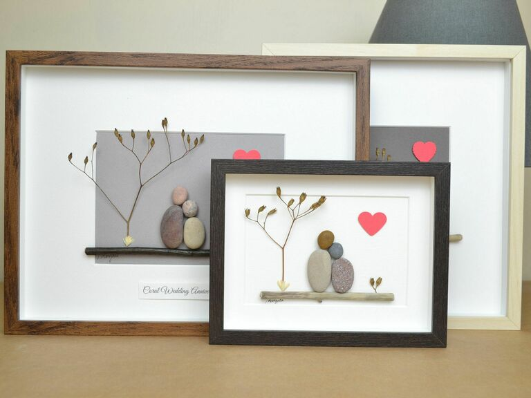 Selection of coral anniversary wall art in various frames
