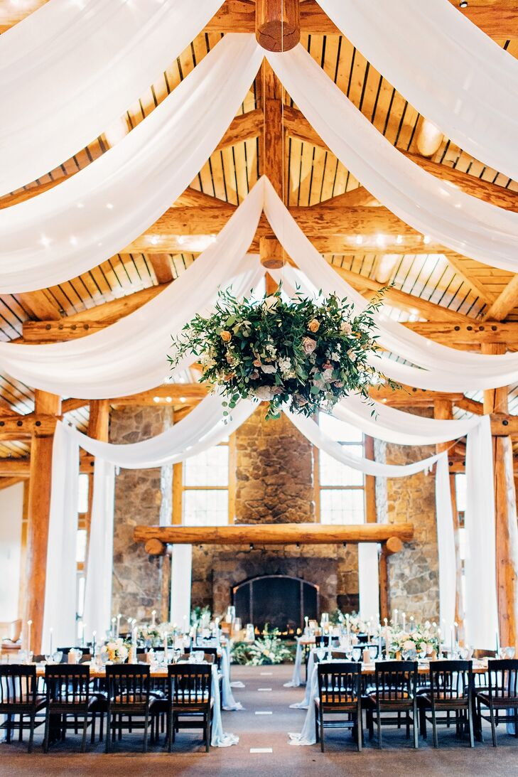Rustic Reception Lodge with Sheer Draping