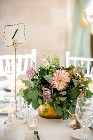 Romantic Low Centerpieces of Roses, Eucalyptus, Dahlias and Gold-Painted Hops