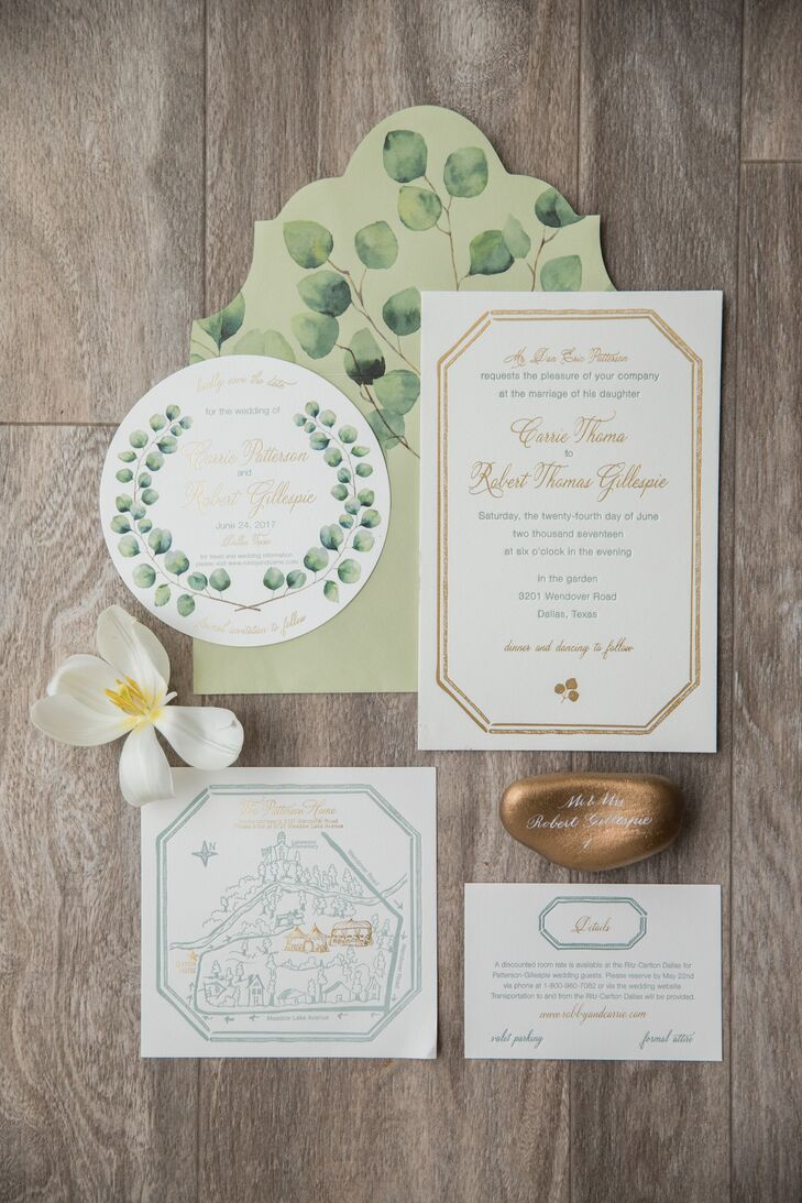 Preppy Green Invitation Suite with Botanical Illustrations