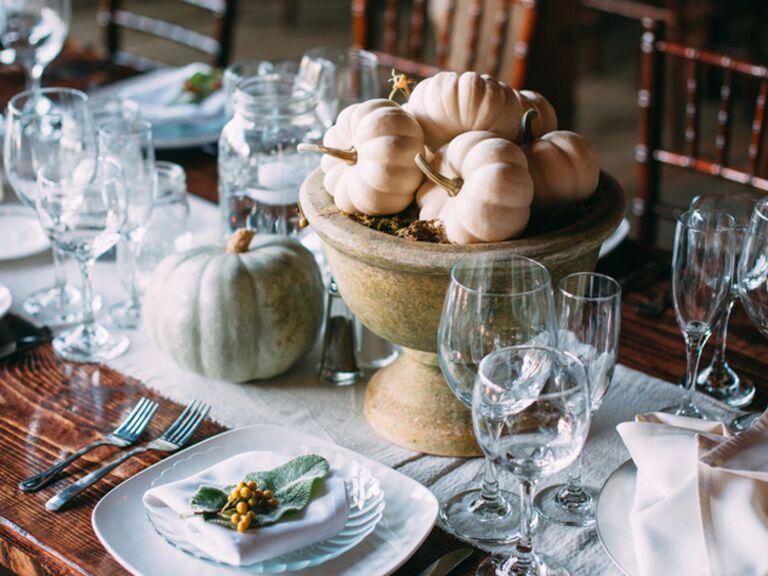White pumpkin centerpiece decor