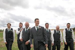 Travis and Groomsmen in Gray Suiting and Hunter Green Ties