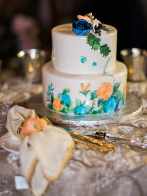 Hand-Painted Floral Cutting Cake