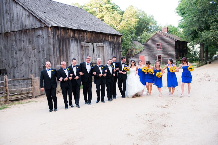 Kristin let her bridesmaids choose their own dress, as long as they were royal blue. They turned out beautifully!