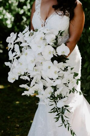 Cascading Orchid Bouquet at Belle Mer in Newport, Rhode Island
