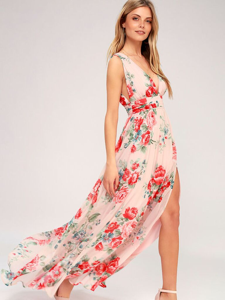 Pink and red floral bridesmaid dress with slit skirt