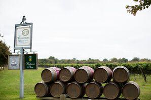 Barrels of Wine Outside Venue