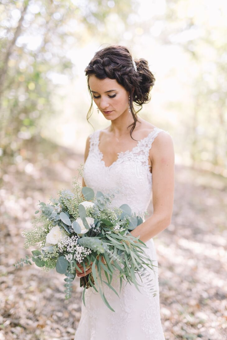 """""""I love doing braids in my hair, and wanted to stay true to my own style,"""" Oriana says of her wedding day hair. She wanted something that """"actually looked like me,"""" she says."""