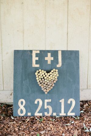 Wood and Wine Cork Wedding Sign