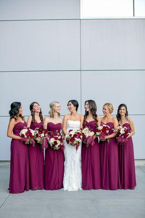 Jewel-Toned Wine Bill Levkoff Bridesmaid Dresses