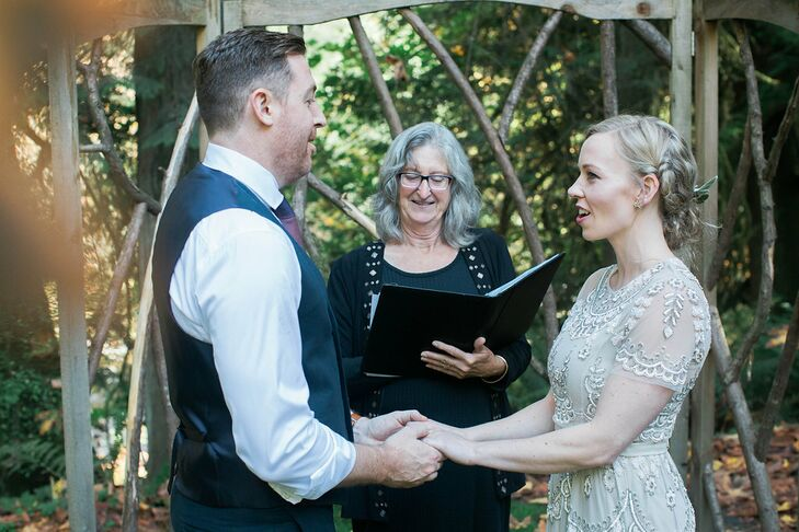 """Ryan and I are both Scottish by heritage, and we found inspiration from traditional Celtic vows,"" Alicia says. ""My favorite part of the ceremony was the end, when [our officiant] wrapped our hands in a cloth in the Celtic tradition of handfasting, which bound us together, our hands clasped in friendship and love."""