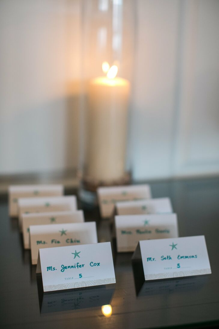 The escort cards featured a tiny blue starfish at the top, a nod to the beach location.