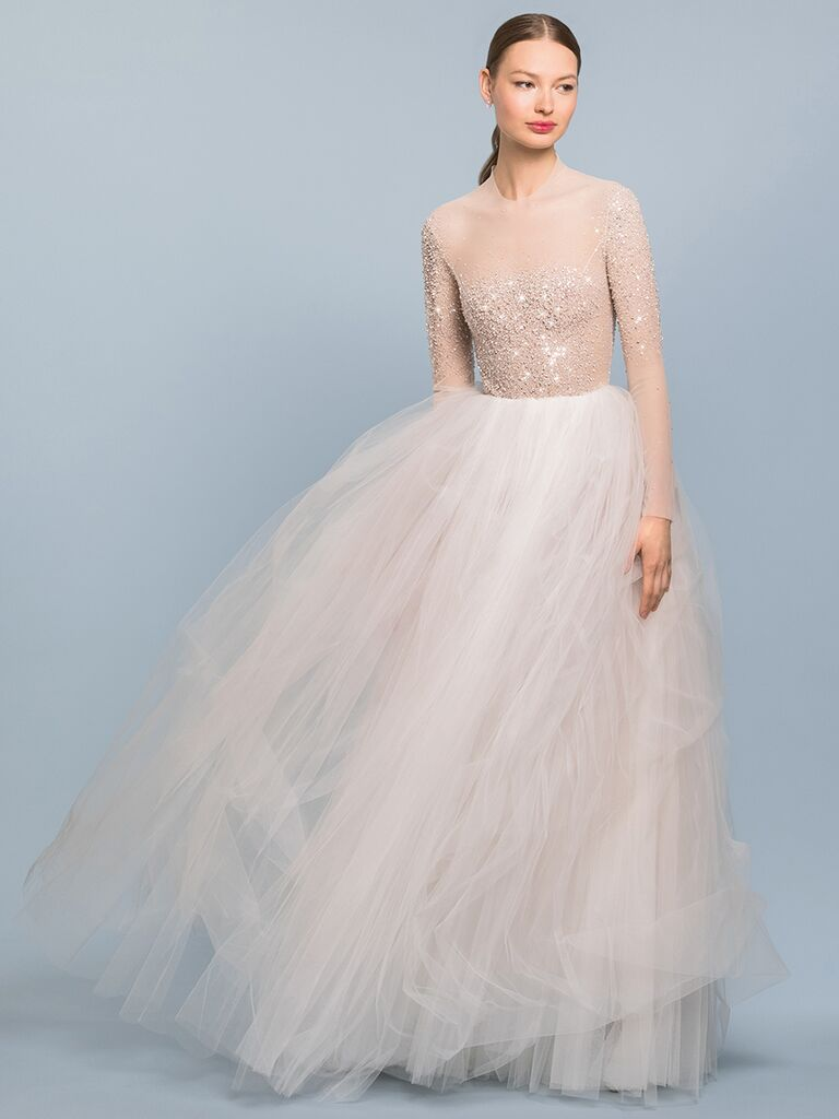 EDEM Demi Couture ballgown with sheer beaded top and long sleeves