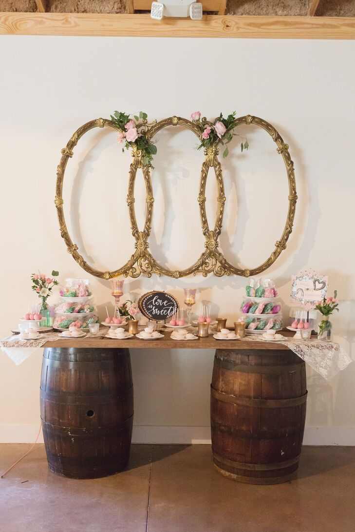 Wine Barrel and Vintage Frame Dessert Table
