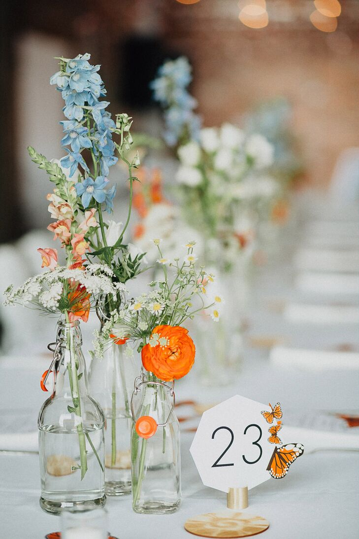 Blue and Orange Centerpieces and Butterfly Table Numbers